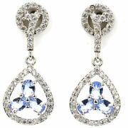 Earrings Silver Sterling With Tanzanite Blue Violet And Zirconium Of Origin
