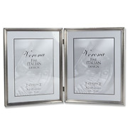 Lawrence Frames Antique Pewter 8x10 Hinged Double Picture Frame - Bead Border
