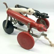 Antique 1920s The Toy Tinkers Tinker Dachshund Dogs Action Pull Toy 8 X 5.5