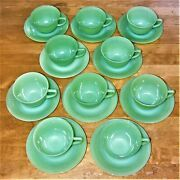 Vintage Ten Fire King Jadeite Jane Ray Ribbed Cup And Saucer Coffee/tea Sets