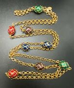 Vtg Joan Rivers Caged Enamel Egg Necklace 46 Long Signed Costume Jewelry