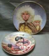 Lot Of 2 Collector Plates By Perillo Christmas Journey And Children Of The Prairie