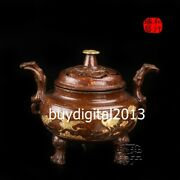 Chinese Red Copper 24k Gold Red-crowned Crane Pine Tree Incense Burners Censer