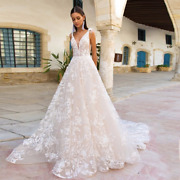 A-line Wedding Dress Bride With V-neck Sleeveless Tassel Lace Tulle Bridal Gowns