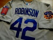 La Dodgers 42 Jackie Robinson Cooperstown Limited Edition Patch Sewn Jersey Gry