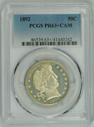 1892 Barber Half Dollar Proof 63+ Cameo Pcgs Frosty Devices