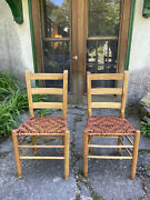 Pair Of One Of A Kind Artisan Crafted Antique Ladder Back Chairs W/ Hickory Seat