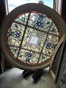 3689 Gorgeous Antique Round Stained And Jeweled Window 45 X 4.25