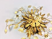 Vintage Ceiling Light Lamp Banci Firenze Maison Bagues Crystal Flowers 50and039s