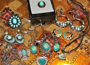 ☘☘sign Tammeyjewels/alpaca Mexico Silver Earrings Pendant++ Turquoise Vtg.lot