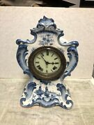 Antique Ansonia German Porcelain Mantel Clock- Has A Chip On Top- Not Running