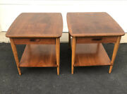 Pair Of Lane Walnut End Tables W/ Drawer Mid Century Modern Mcm Side Tables 60s