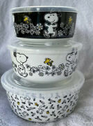 New Spring Peanuts Snoopy Ceramic Reusable Food Storage Containers 3 With Lids