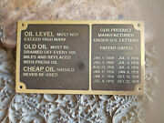 Jordan And Other Vintage Car Makes Lube Data Plate Acid Etched Brass 1916 - 1918