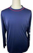 Sperry Top Sider Long Sleeve Athletic Navy Blue T-shirt Mens Size L Graphic