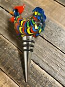 Twine Rooster Glass Wine Bottle Stopper - Glass Blown Art, Rubber And Metal Seal