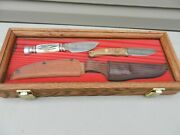 Lot 2 Knives Schrade + Usa/ Hunter Bone Handle Hunting Heritage Collection Case