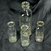 Lot Of 4 Vintage Collectible Clear Glass Milk Bottles Vases Wedding Decor