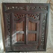 Antique Mirror Large Bank Front Double Door Hand Carved