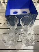 Pressed-glass Wine Glass Set Of Four Clear Brand New With Box