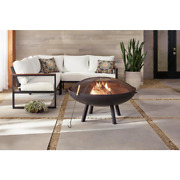 40 In. Round Steel Wood Burning Fire Pit With Spark Guard 60lb Weight Large