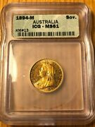 1894 Australian Gold Sovereign Melbourne Icg Ms61 Key Date Victoria Uncirculated