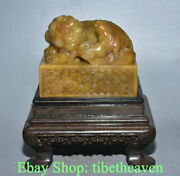 6 Old Chinese Tianhuang Shoushan Stone Carving Foo Dog Lion Mother Seal Stamp