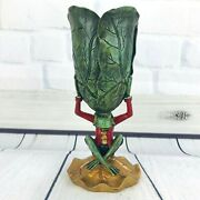 Anthropomorphic Frog Figurine Holding Lillipad Cup Holder Lover Pottery Decor