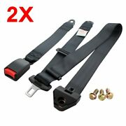 2kits For Gmc 3 Point Harness Fixed Safety Belt Seat Belt Black Cars Universal