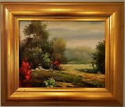 20x17 Wide Solid Wood Framed Oil Painting On Canvas Of 11x14 Landscaping