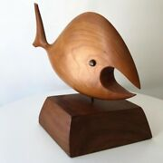 Rare Mid Century Wood Carved Fish Jack Boyd Era Bronze 60 70and039s Modern Sculpture