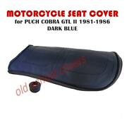Puch Cobra Gtl Ii Dark Blue Seat Cover With Rubber Trim And Seat Strap