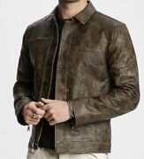 John Varvatos Camo Leather Jacket Size 48