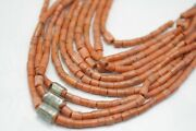 2008 Grams Old Antique Vintage Clear Pink Coral Beads Necklace Saturated Color