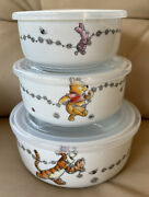 New Spring Pooh Piglet Tigger Ceramic Reusable Food Storage Containers 3 W/lids