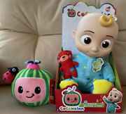 New Cocomelon Jj Doll Musical Bedtime 10 Plush Sing Toy Roto Head And Watermelon