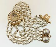 Stunning Vintage 1960s 14k Solid Gold And Pearl Bracelet Watch By Lucien Piccard