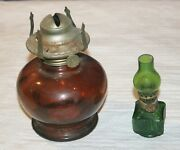 Vintage Oil Lamp Lot - Miniature Green And Cranberry Base Lamps