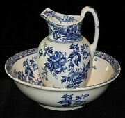Antique Ca. 1891-1902 Royal Doulton Peony Flow Blue Pitcher And Wash Basin.