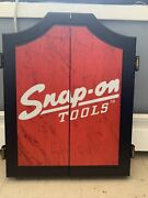 Snap-on Tools Collectors Garage Wooden Wall Hanging Dart Board Cabinet 25
