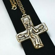 Vintage Runway Modernist Cross Pendant Necklace Gold Tone Chunky Medieval Monk