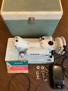 Singer 221 Featherweight White Sewing Machine With Original Case Very Rare