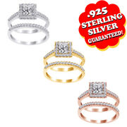 1.00 Cts Brilliant Cut Engagement Wedding Ring With Bridal Set In Steling Silver
