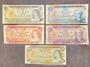 1979s Lot Of 1 2 5 10 20 Bank Of Canada Lawson Bouey