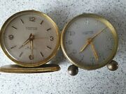 2 X Vintage Looping Alarm Clocks Swiss Made 7 And 15 Jewel Lever Untested Faulty