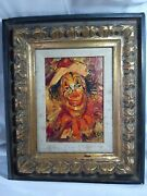 Mid Century Oil Clown Painting On Canvas By Louis Spiegel Signed Front And Back