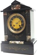 Antique 19th Century French Slate And Marble Mantel Clock Marble Inlay Victorian