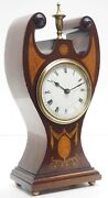 Vintage French Art Nouveau Solid Mahogany Timepiece Clock 1900s Open Backwind