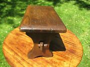 Antique English Oak Child's Bench Or Foot Stool 10 High 15 Long 8 1/4 Wide