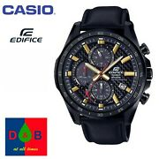 Casio Edifice Eqs-900cl-1av Menand039s Analog Solar Powered Leather Strap Watch